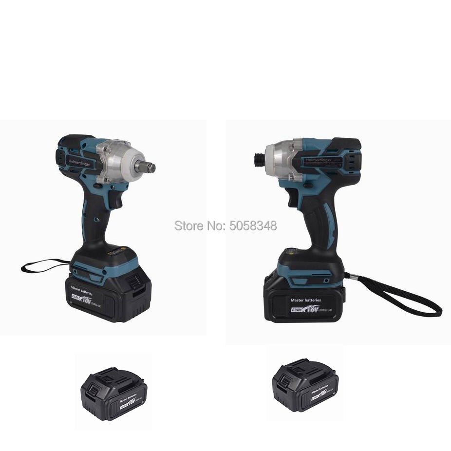 Electric Rechargeable Brushless Impact Wrench Cordless And Brushless Impact Driver Drill Combo With Four 18V 4.0Ah Battery