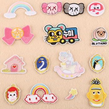 HEY PATCH Cartoon Patches Embroidery Stripe on Clothes Iron on Cute Style Sticker Diy Appliques Garment Accessories 19DK-028 image
