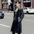 Длинный плащ, мужская куртка из искусственной кожи, модная дизайнерская приталенная ветровка для мужчин, осенне зимнее толстое теплое ветр...