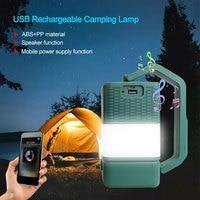 4in1 Camping Lampe Taschenlampe Suche Licht USB Lade Bluetooth-kompatibel Lautsprecher Camping Laterne Mobile Power Tisch Lampe
