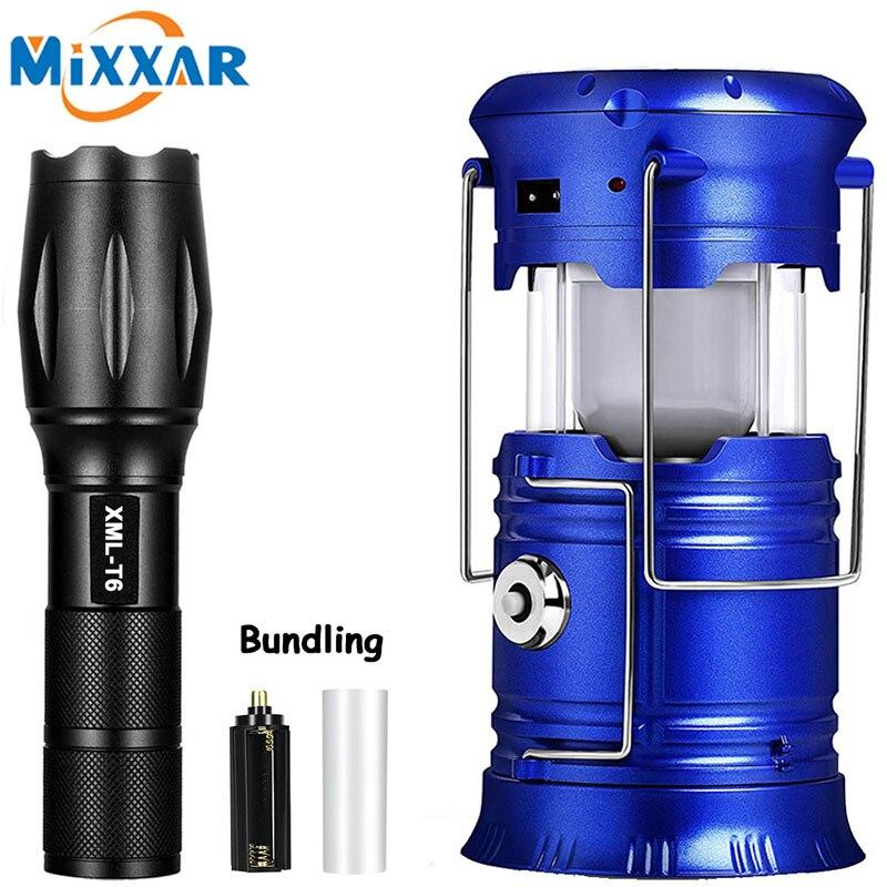 LED lampes de poche solaires puissantes torche Portable lampe à main Rechargeable randonnée Camping lanterne tente lumière de secours livraison directe
