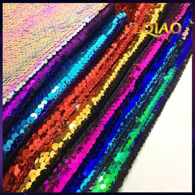 125cm x 20CM iki taraflı pullu kumaş Balık Pulu Payet Kumaş Yeşil/Siyah/Altın Pullu Madeni Pul kumaş Elbiseler için /Bikini/minder örtüsü