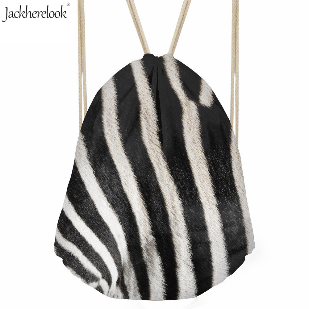 Jackherelook Zebra Stripe Drawstring Bag Casual Men/Women Backpack 3D Tiger/giraffe Design Gym Bag Teenage Boy/Girl Storage Pack