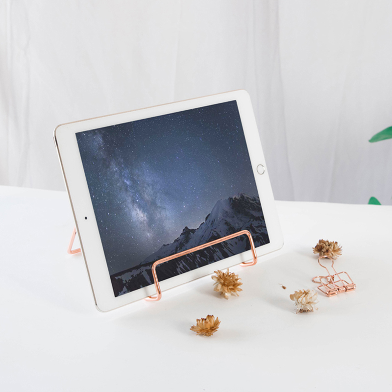 Rose Gold Letter Holder Picture Frame Stand Book Shelf Storage Rack Book Display Stand Decorative Desk Accessories & Organizer