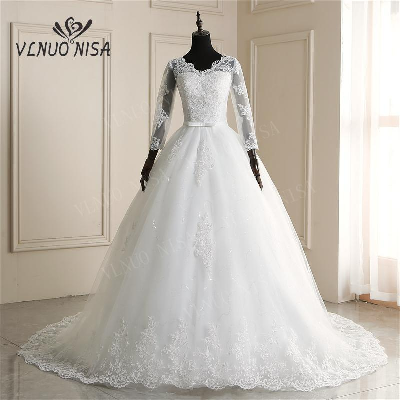 New Fashion Simple V Neck Wedding Dresses Off White With Train Applique Long Sleeve Ball Gown Princess Bridal Vestido De Noiva 6