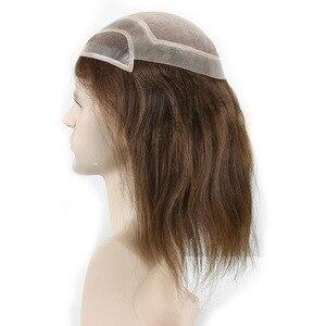 Image 5 - Eseewigs шиньон моно кружево с ПУ Замена 12 дюймов Длина длинный прямой парик бразильские Remy человеческие волосы натуральный цвет 1b #