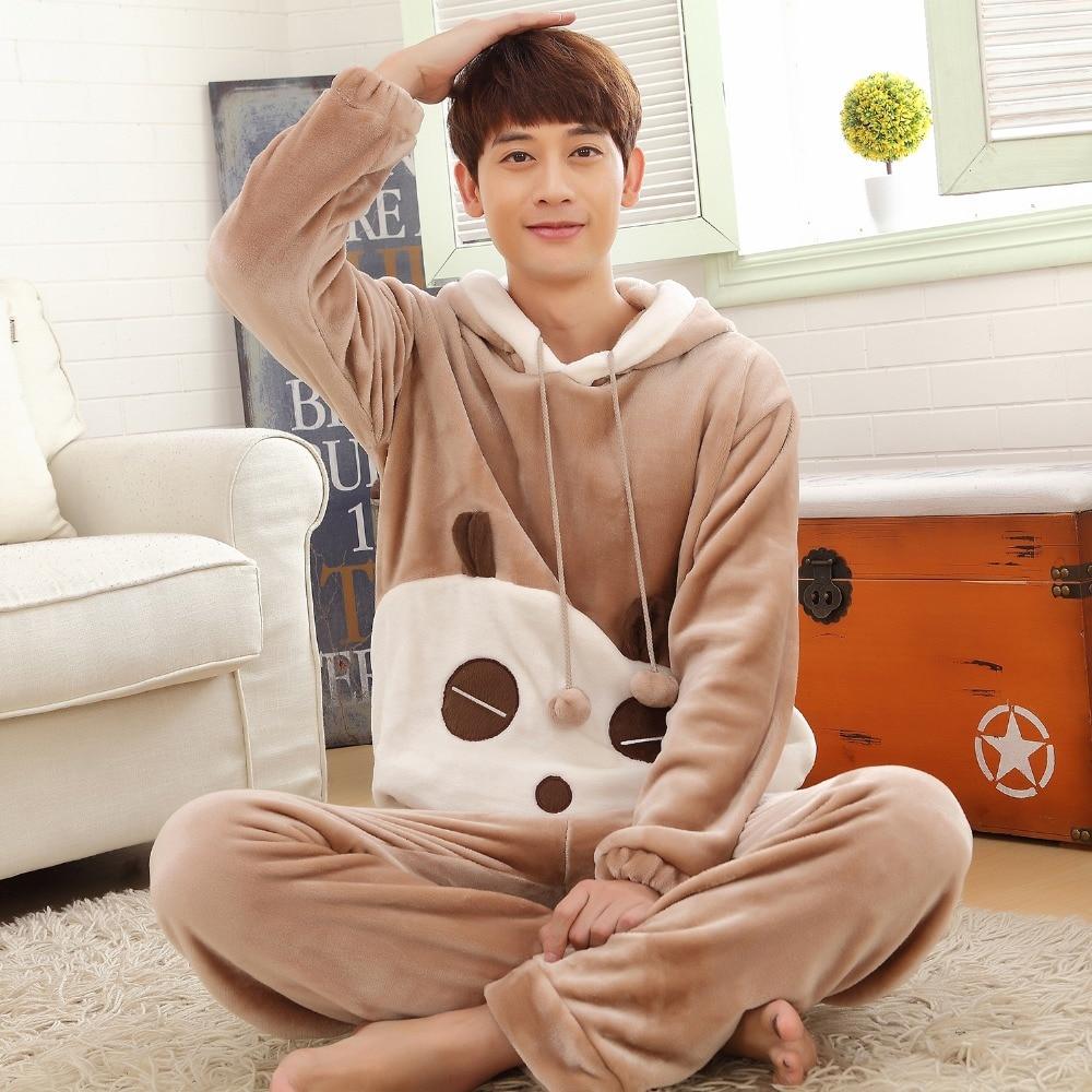 Autumn And Winter Men Thick Flannel Pajamas Sets  Hooded Plus Size S-4XL 5XL 6XL Sleepwear Women Cartoon Coral Fleece Lounge Set
