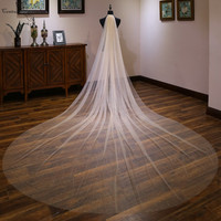 Sparkly Champagne Cathedral Wedding Veil with Comb 4 Meters Long Shiny Bridal Veil Wedding Accessories One Layer Velos De Noiva