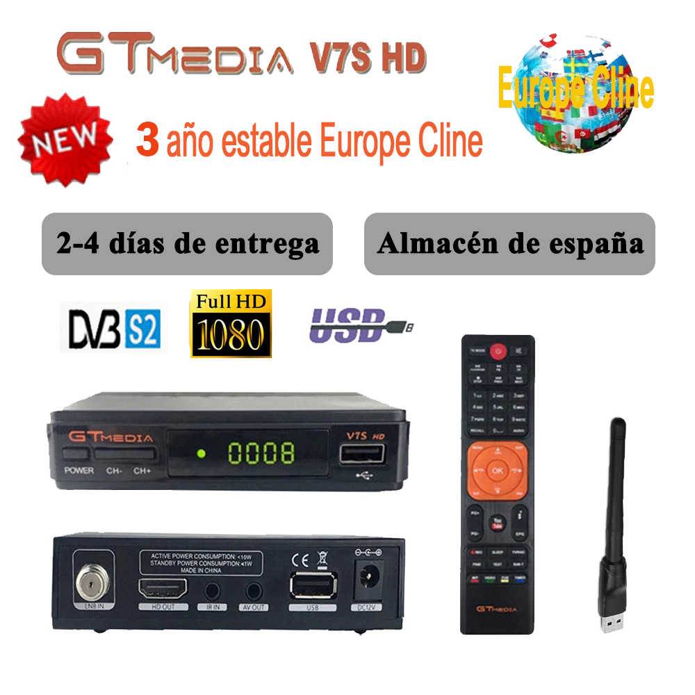 Originele DVB-S2 Gtmedia V7S Hd Europa Cline Voor 1 Jaar Spanje Satellietontvanger Gt Media V7s Hd Decoder Freesat V7s tv Receptor