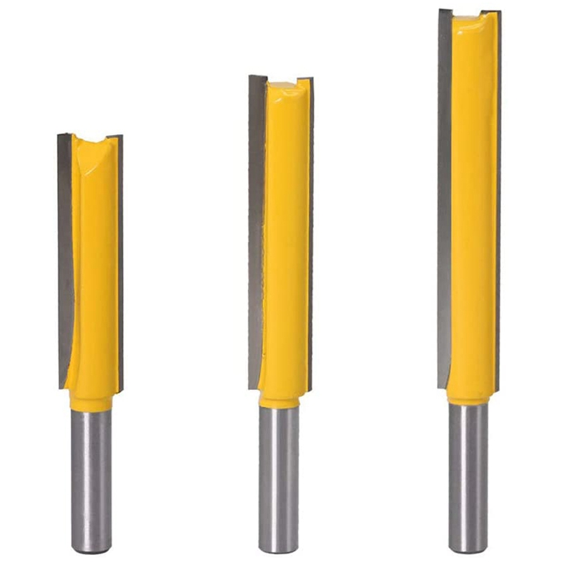 3Pcs 8Mm Shank Straight Bit Set Carbide Wood Milling Cutter Woodworking Tools Extra Long Straight Router Bit