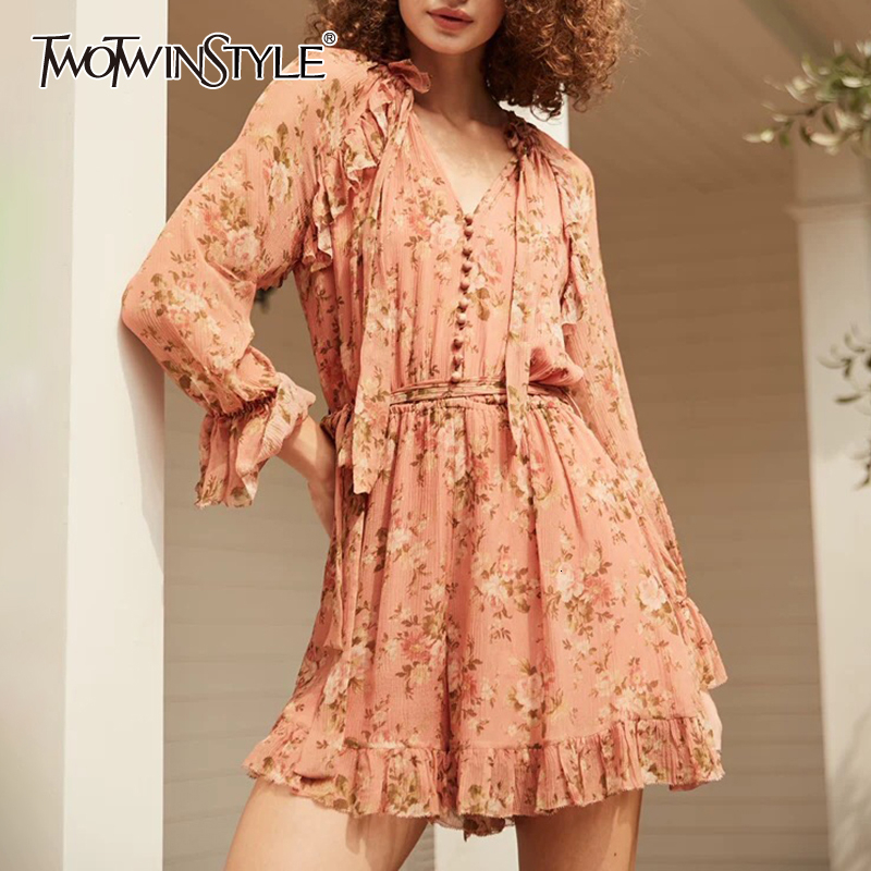 TWOTWINSTYLE Print Patchwork Ruffle Mesh Women's Playsuits V Neck Flare Long Sleeve High Waist Lace Up Playsuit Female 2019 Tide