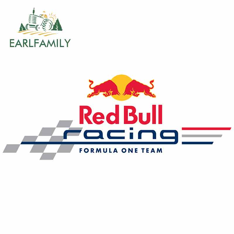 EARLFAMILY 13cm X 4.9cm Car Body Windshield Sticker For RED Racing Bull Graphics Car Stickers Formula One Team Decals Vinyl