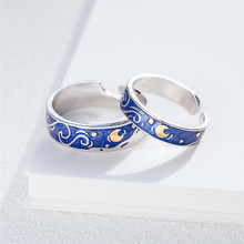925 Sterling Silver Romantic Starry Sky Rings for Women Blue Star and Moon Adjustable  Wedding Party Bague Bijoux