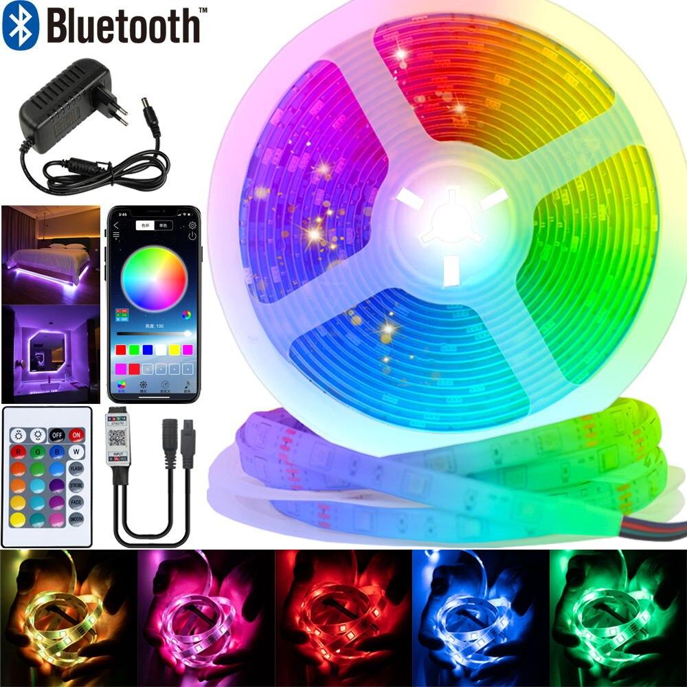 Светодиодный полосы света Bluetooth Luz светодиодный RGB 5050 SMD 2835 гибкий Водонепроницаемый лента диод 5, 10 м, 15 м, 20 м DC12V дистанционного Управление + а...
