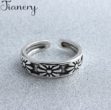 JIANERY New Design Vintage 925 Sterling Silver Flowers Rings For Women Boho Antique Rings Party Bohemian Jewelry(China)