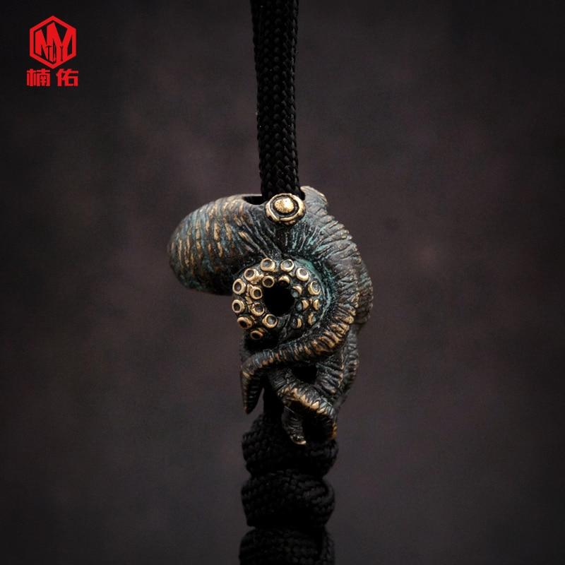 1PC Octopus Cruzu Bronze Brass Copper EDC Paracord Beads Lanyard Pendants Knife Beads Umbrella Rope Cord Pendants Beads