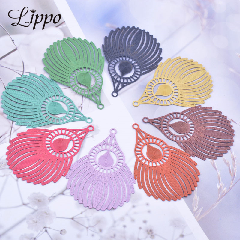 30pcs AB5131 30 45mm Peacock Feather Charms