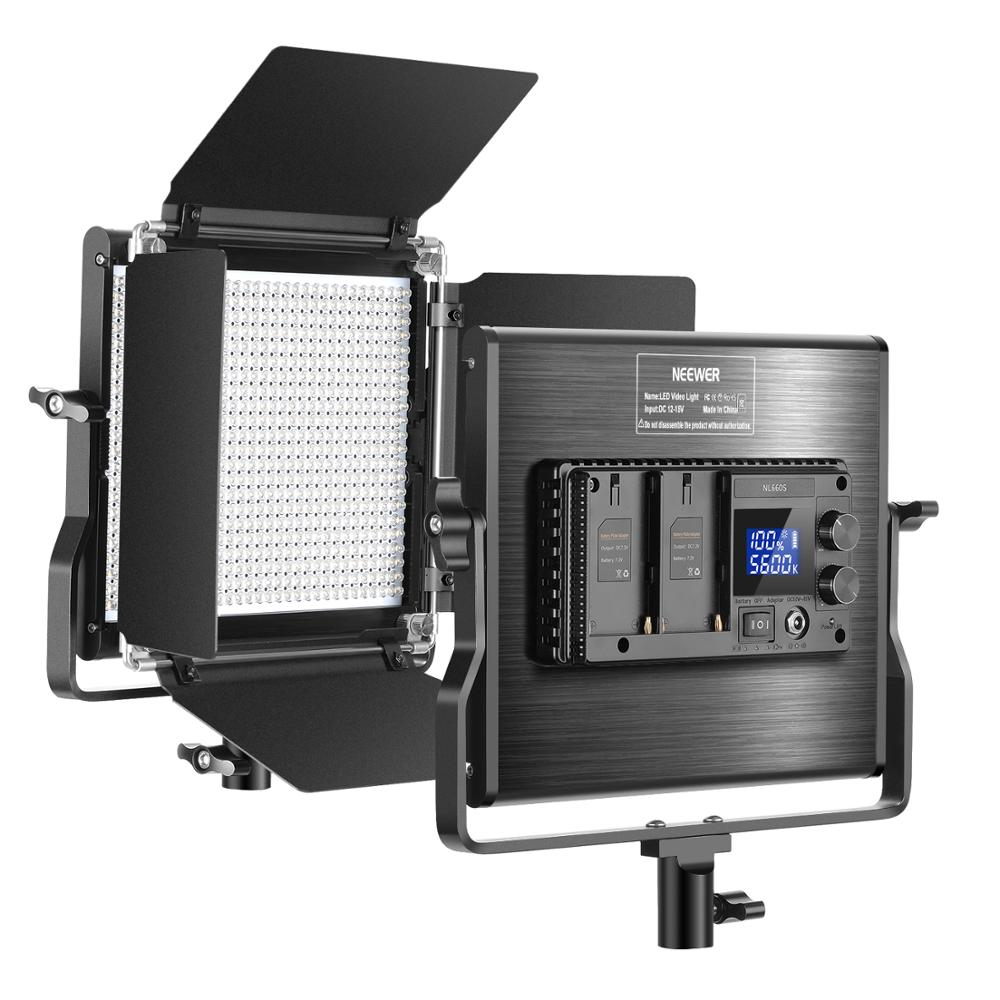 Neewer Upgraded 660 LED Video Light Dimmable Bi-Color LED Panel with LCD Screen for Studio, YouTube Video Shooting Photography image