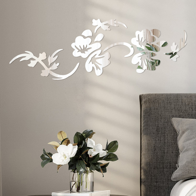 3D Flowers Design Acrylic Mirror Wall Sticker Bedroom Living Room Porch Decorative Wallpaper Decal Home Office Bar Decoration 4