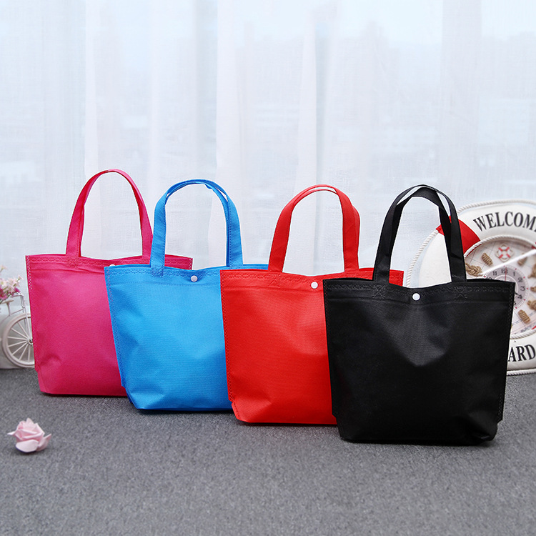 Recycle Luxury Tote Bag  Eco Big Self Button Shopper Bag String Shopping Market Pink Tote Bag Accept Print Your Own Logo