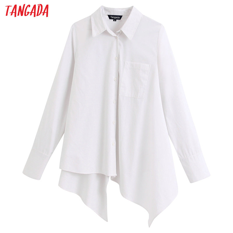 Tangada Women Oversized Asymmetry White Shirts Long Sleeve Solid Elegant Ladies Casual Blouses  BE227
