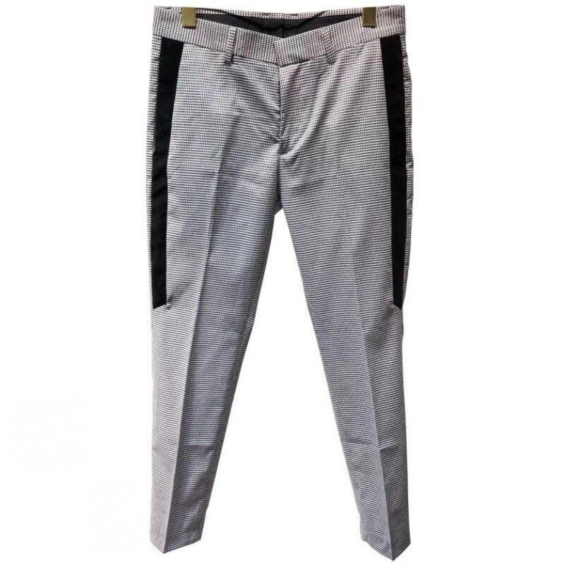 Euro Brand Mens Plaid Business Caual Suit Set Blending Slim Fit Groom Dress Suits Ankle Length Pants Office Work Man Outfit Wear