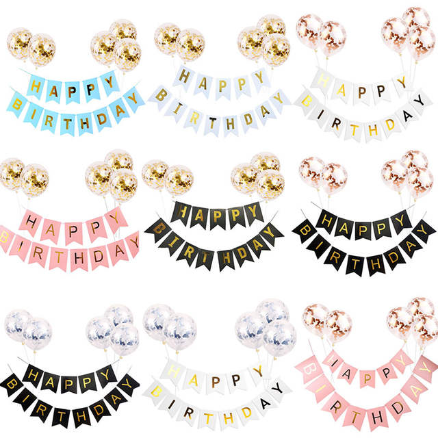 1set Happy Birthday Letter Banner Rose Gold Confetti Balloons Birthday Baby  Shower Party Decorations Baloon Boy Girl Kids Party