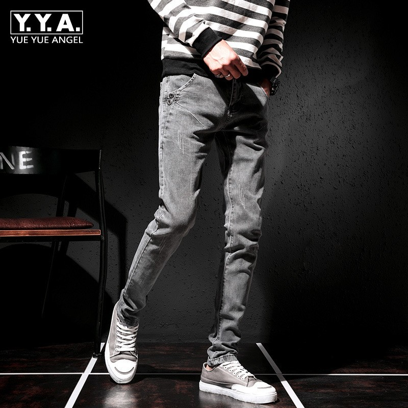 Autumn Pencil Jeans Men 2020 New High Street Elastic Slim Trousers Male Teenager Casual Biker Denim Pants Pockets Gray 27-36
