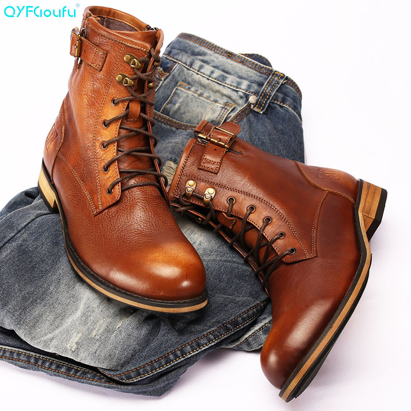 QYFCIOUFU New Autumn Ankle Motorcycle Chelsea Boots Men Lace-up Mens Work Handmade Genuine Leather