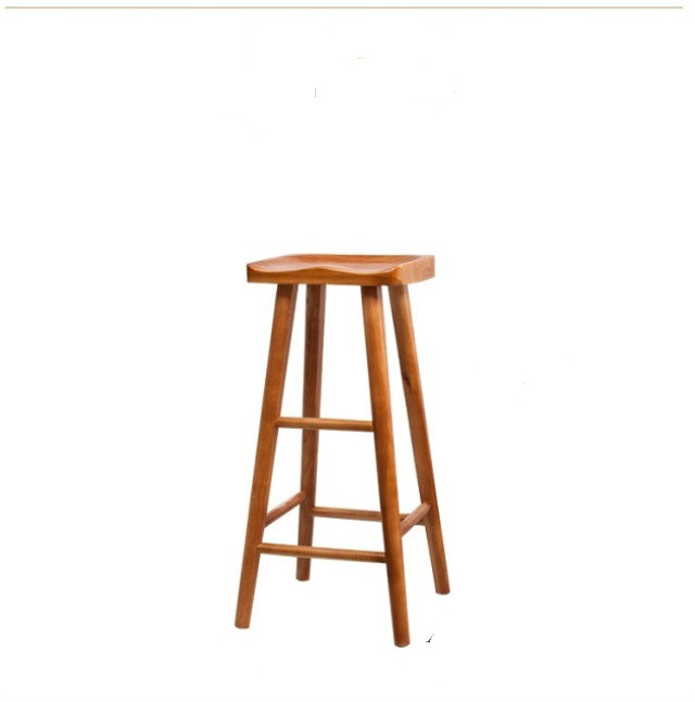Nordic Log Bar Chair Domestic Solid Wood Bar Chair Dining Table Stool High Foot Stool Simple Modern Bar Chair High Foot Chair
