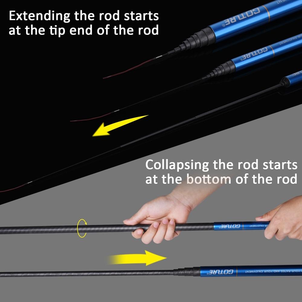 Image 4 - Goture Zealot Telescopic Fishing Rod Carbon Fiber 24T+30T 2.7 7.5M Carp Fishing Rod 2/8 Action Hard Hand Pole Stream Feeder RodFishing Rods   -