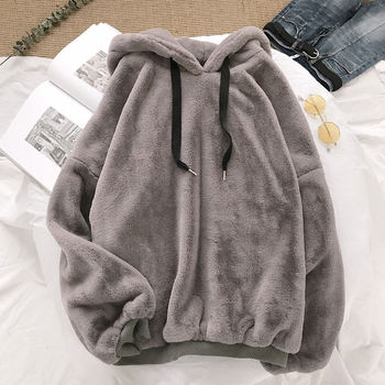 Autumn Winter Coats Soild Sweet Hooded Women Harajuku Loose Casual Warm Hoodies Ladies Fleece Flannel Pullover Female Sweatshirt image