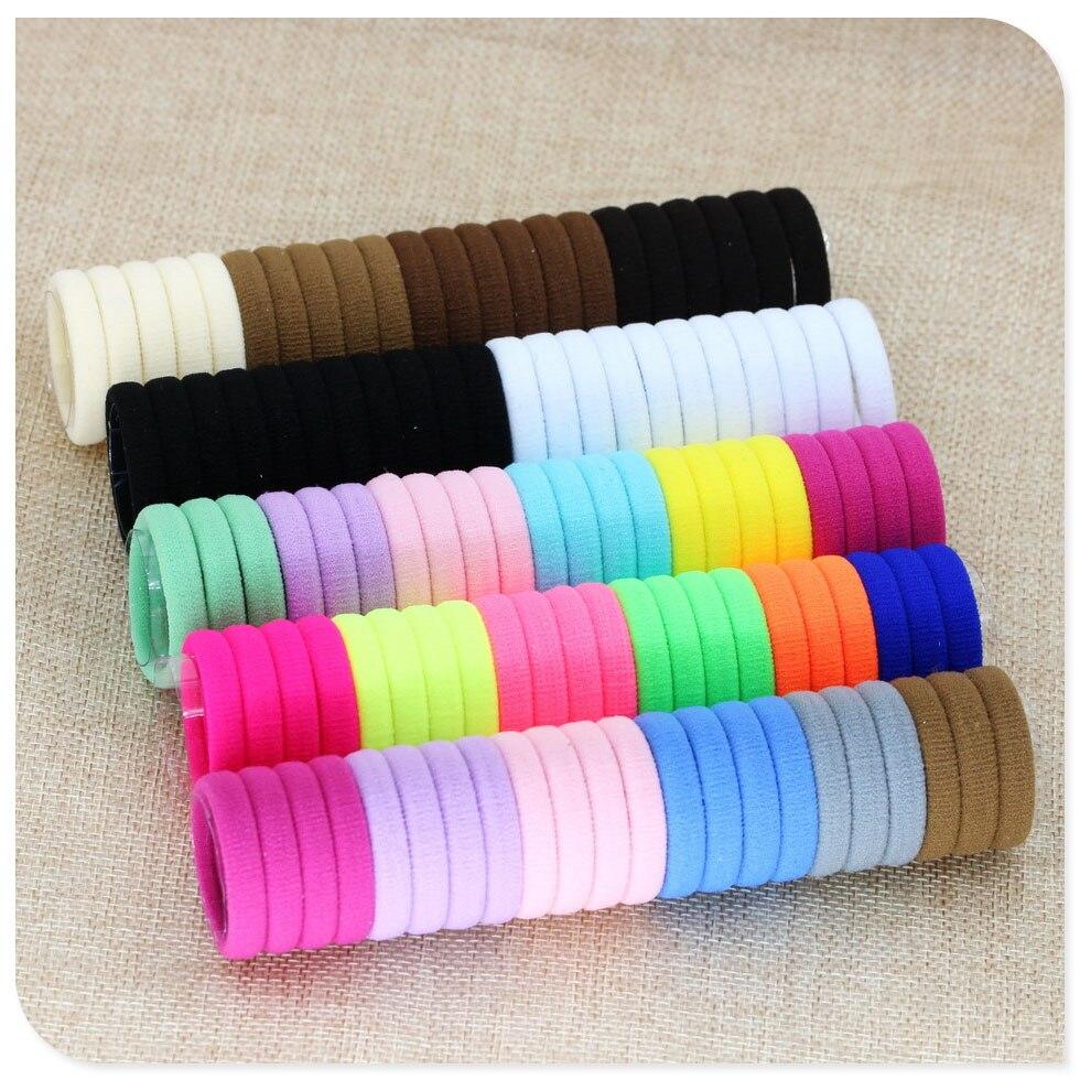 50Pcs Diameter 3.5CM Girl Elastic Hair Bands Black Hairband Ponytail Holder Rubber Bands Hair Scrunchies Accessories