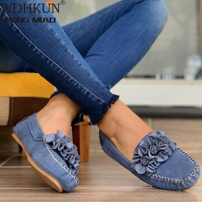 Women Shoes 2020 Handmade Ethnic Women Flats Leather Shoes Flat Flower Moccasins Soft Bottom Loafers Slip on Ladies Shoes Loafer