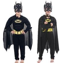 Детские маскарадные костюмы «Бэтмен» с мышцами вампира и масками; плащ супергероя для мальчиков; маскарадный костюм на Хэллоуин; вечерние маскарадные костюмы «Супермен»