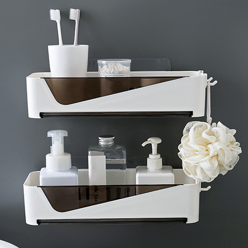 High Quality Punch-Free Bathroom Shelf Plastic Toilet Bathroom Vanity Wall Hanging Bathroom Storage Rack Basket No Trace Sticker