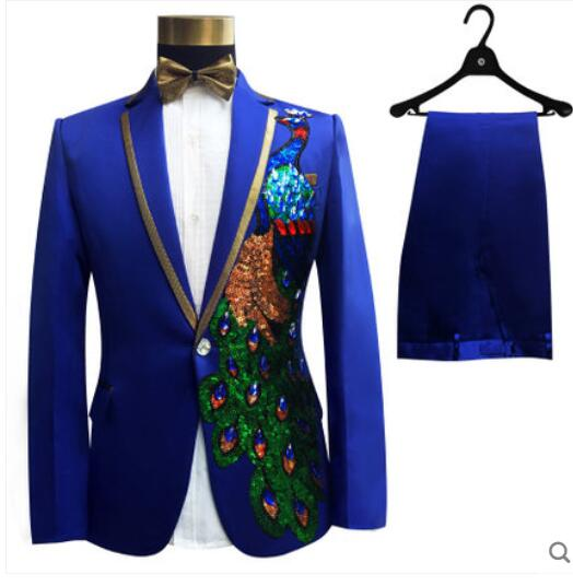(jacket+pants)male sets groom wedding prom party red black white instrument slim costumes blazers flower formal