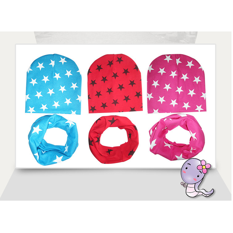 2020 Cotton Baby Hat Scarf Kids Hat Autumn Winter Children Scarf-collar Boys Warm Beanies Star Print Infant Hats New