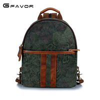SOURCE Leather Goods Canvas Bag Camouflage Backpack Canvas with Horse Leather Trendy Bag Retro Backpack Cross Border Supply of G