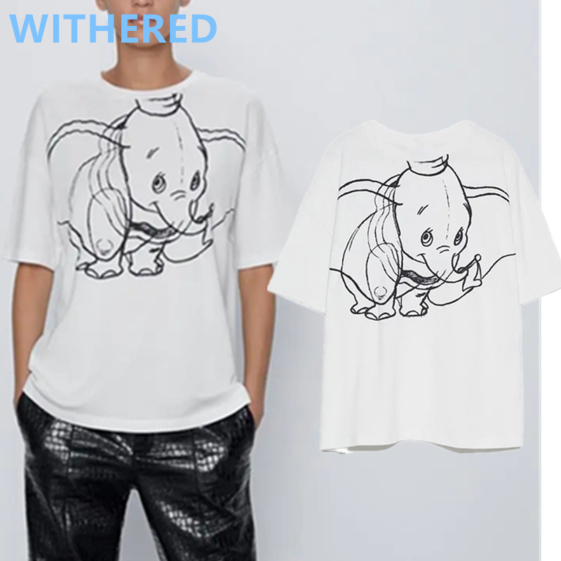 Withered England High Street Cartoon Pattern Oneck Cotton Loose Summer T Shirt Women Harajuku Tshirt Camisetas Verano Mujer 2020