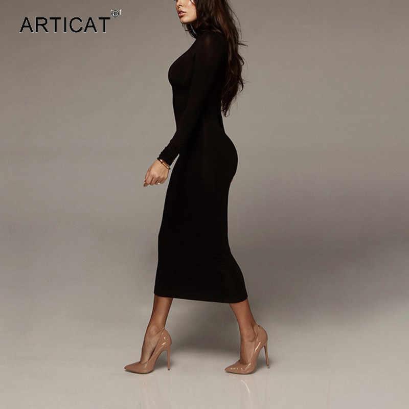 Articat エレガントなボディコンドレス女性長袖タートルネックネックミディ黒ドレス女性 2019 秋カジュアルストリート Vestidos
