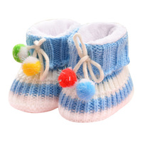 Autumn Winter Baby Wool Shoes Hand woven New Born Baby Wool Shoes Finished Warm Cotton Soft Bottom