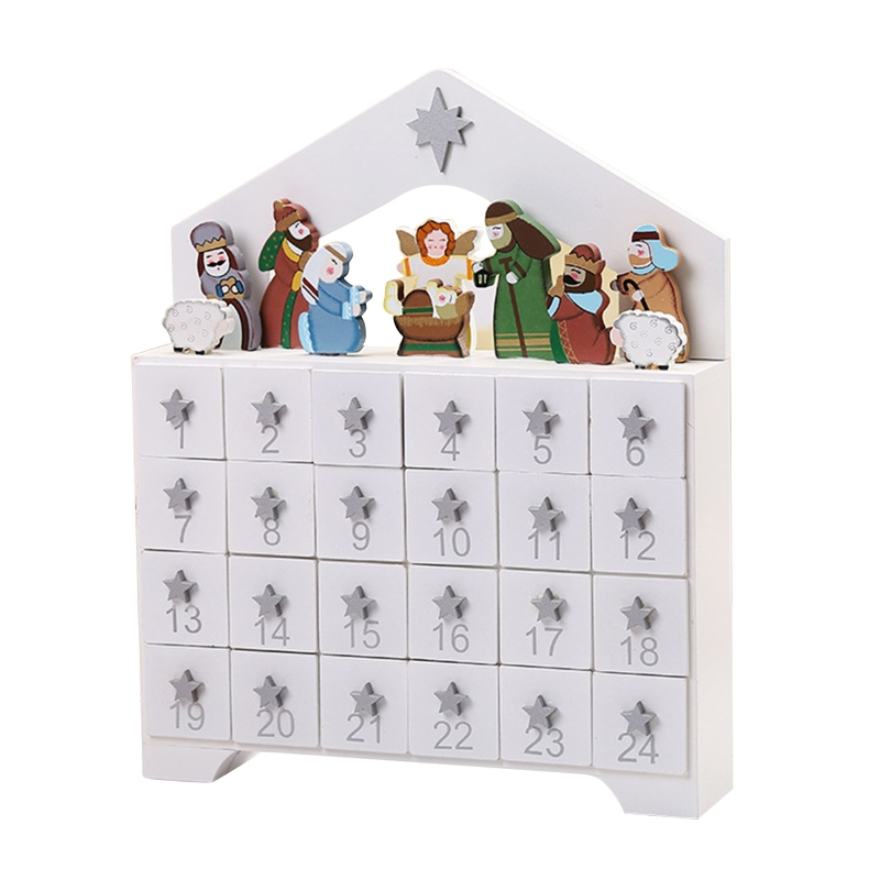 Wooden Advent Calendar Countdown Christmas Party Decoration Mini 24 Pull Out Drawers Ornament New Year Decor