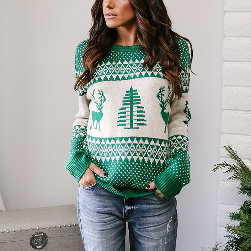 Christmas Sweater With Deer 2019 Happy New Year Sweater Cotton Pattern Printed Ladies Christmas Jumper For Women Knitted Pullove