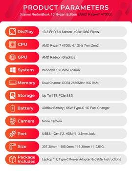 Xiaomi RedmiBook 13 Laptop Ryzen Edition Notebook AMD Ryzen 4700U/4500U 13.3 Inch Display 512GB/1T SSD Windows 10 Computer 6