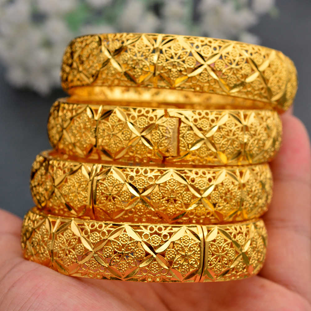 WANDO New Fashion lady Luxury Gold Color Jewelry Bangles Ethiopian African Women Dubai Bracelet Party wedding Gifts