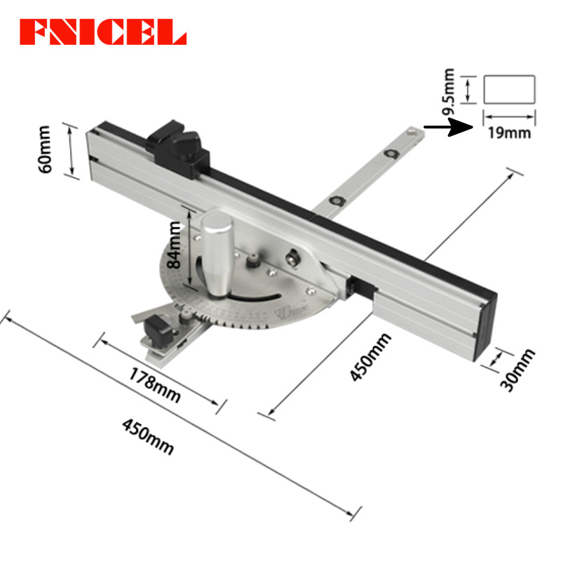 450mm Miter Gauge Table Saw/Router Miter Gauge Sawing Assembly Ruler For Table Saw Router Wood Working Saw Tool