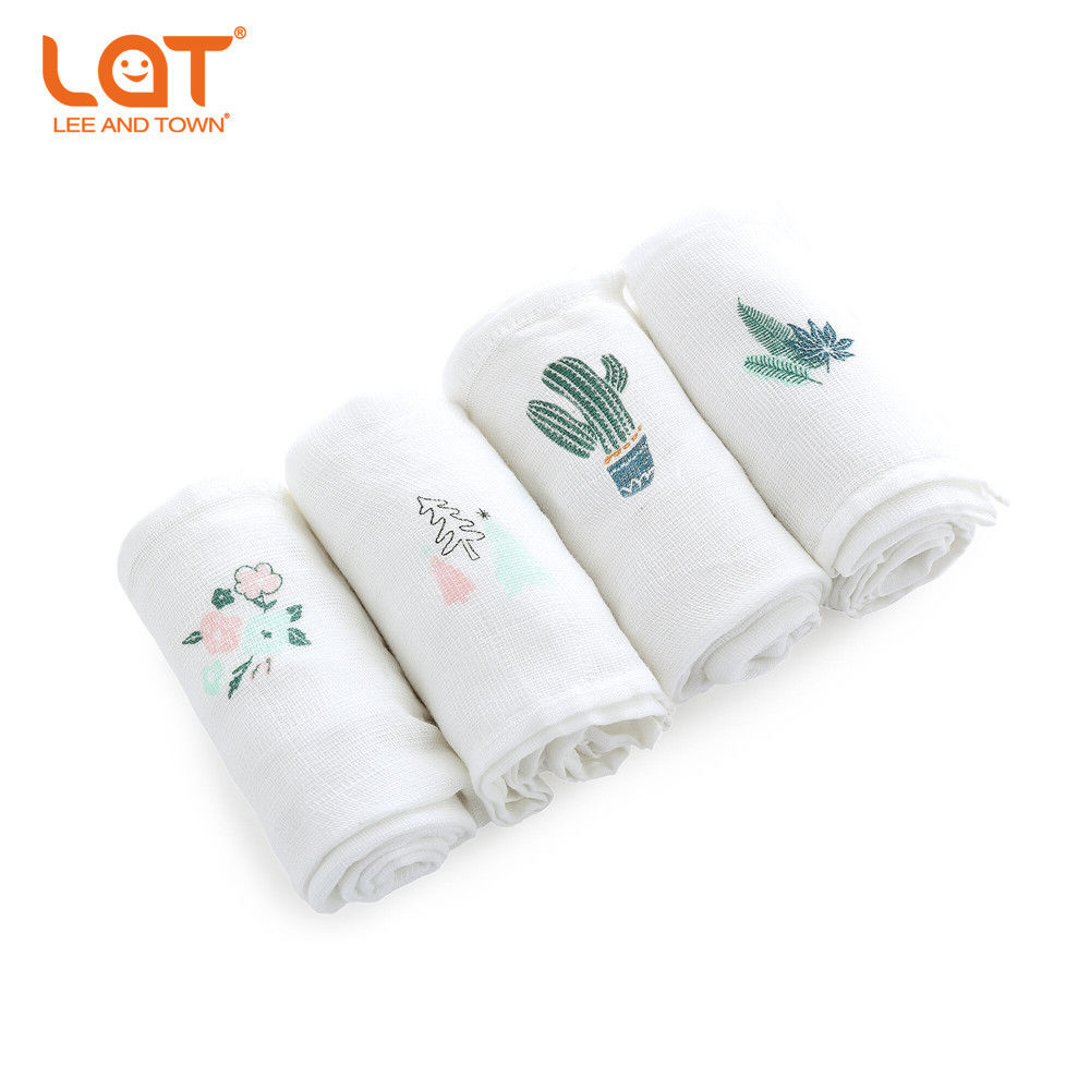 LAT 4pc/Box For Newborns Cotton Muslin Square Washable Premium Reusable Nappy Diapers Wipes Bath Cloth Towel Blanket