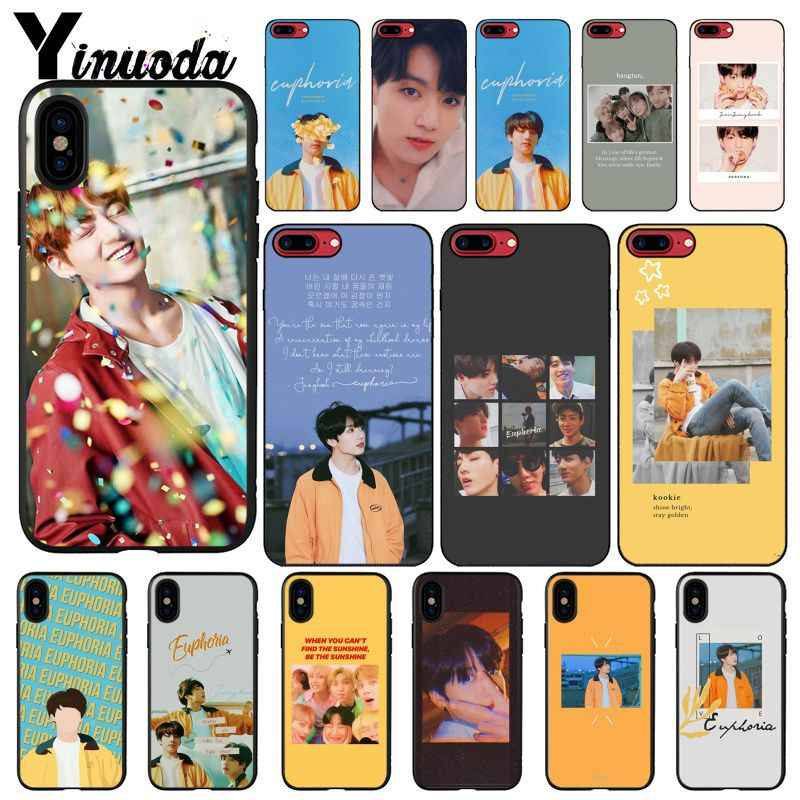 Yinuoda KPOP Euphoria Jungkook Black Soft Shell Phone Cover for Apple iPhone 8 7 6 6S Plus X XS MAX 5 5S SE XR Mobile Cases
