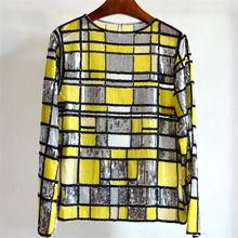 Женская Весенняя прозрачная рубашка из пряжи с бусинами и блестками
